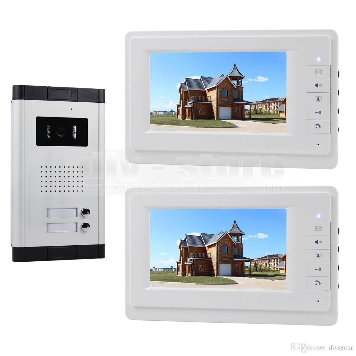 DIYSECUR 비디오 인터콤 도어 폰 7 인치 아파트 초인종 시스템 IR 카메라 700 TV 라인 터치 키 2 가족 용