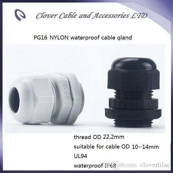 حار بيع وشحن مجاني 100PCS / lot IP68 للماء لكابل موصل PG16 النايلون الكابل الغدة