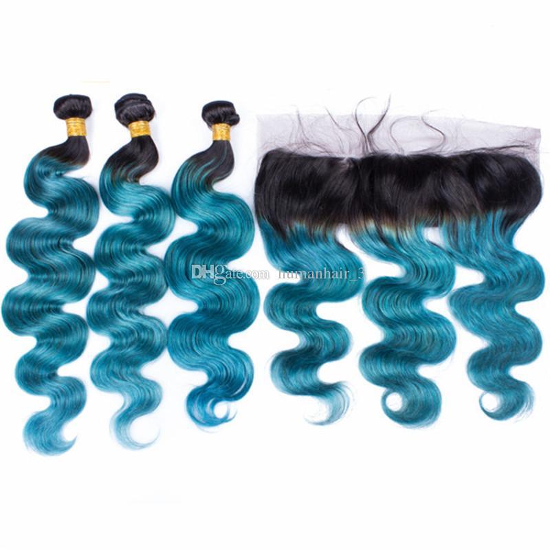 Blue Ombre Body Wave Virgin Human Hair Bundles Z 13 * 4 1B Niebieski Ciemny Korzeń Ombre Peruwiańskie Włosy Pełna Koronkowa Frontal Zamknięcie 4 sztuk Lot