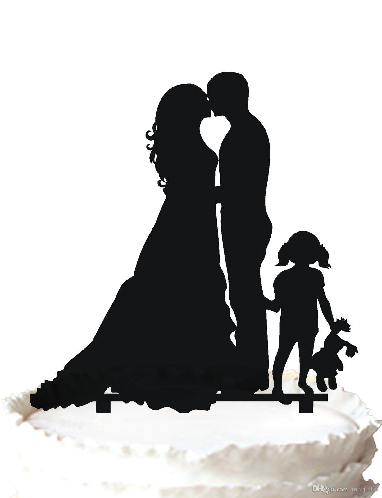 Wedding Cake Topper Le marié et la mariée s'embrassant, une jolie fille avec son jouet préféré Silhouette, 37 couleurs pour l'option Livraison gratuite