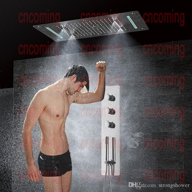 Thermostatic Shower Panel Stainless Steel LED Rain Waterfall Big Shower Head Ceiling Bathroom Faucet Set Wall Mounted Rainfall Faucets Tap