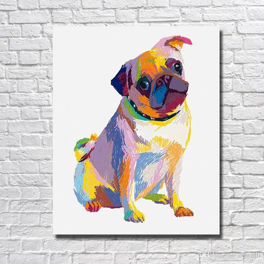 Free shipping Modern home wall decor handmade cartoon animal dog oil painting wall pictures for bedroom