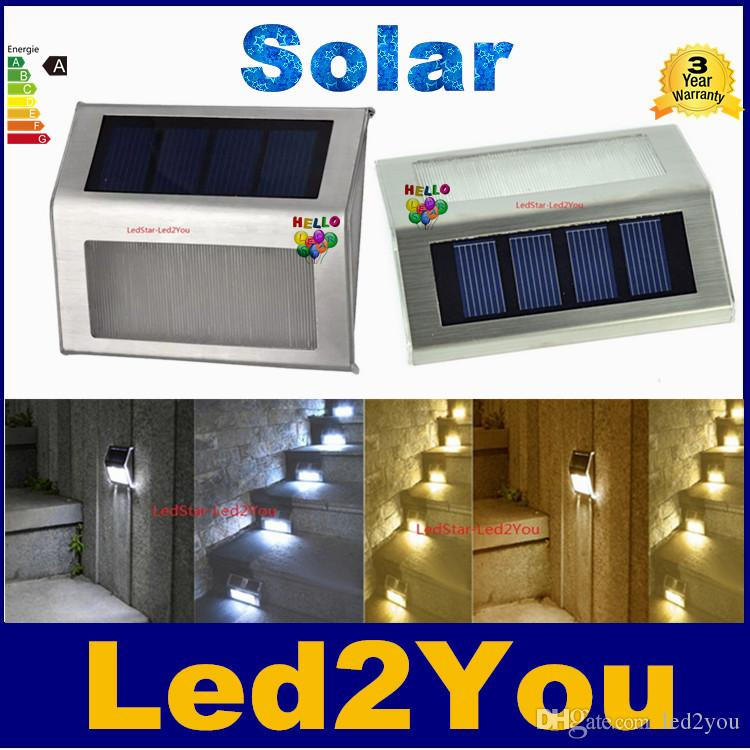 Free shipping Solar Power LEDs Outdoor waterproof Garden Pathway Stairs Lamp Light Energy Saving LED Solar wall Lamp Warm White / Cold white