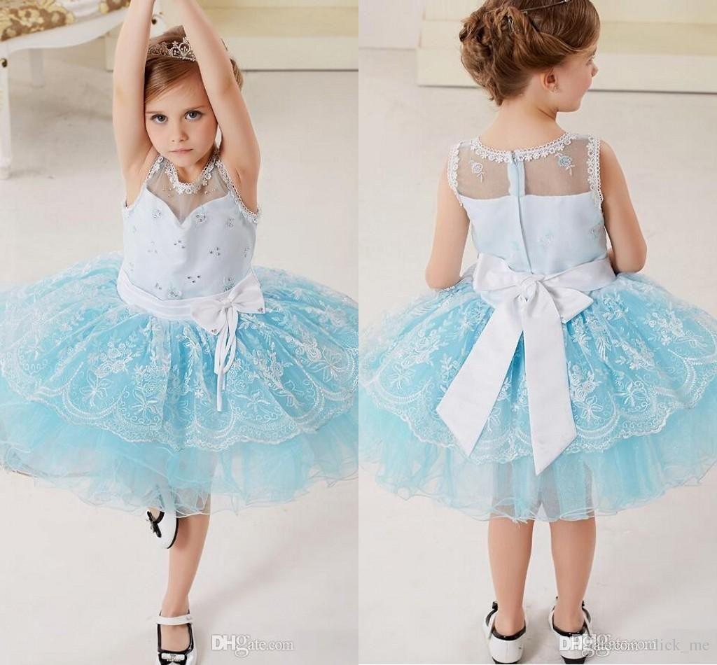 Платья для девочек-цветочниц Свадебные платья Бусины с оборками для экипажа Кружевные пышные театрализованные платья для девочек Лента на молнии с бантом Лента для маленьких праздничных платьев