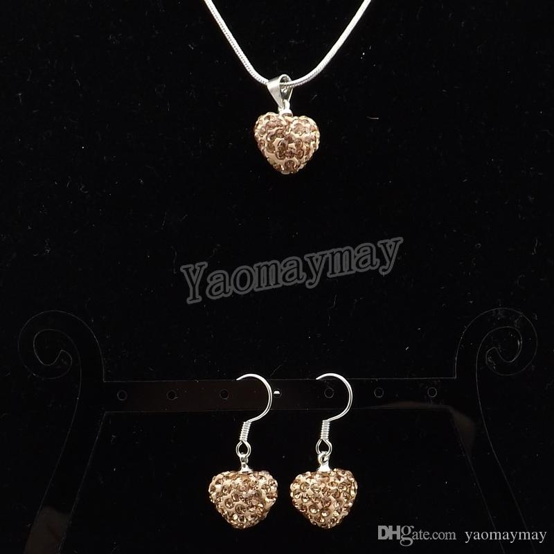 Heart Shape Rhinestone Jewelry Set Champagne Crystal Earrings And Silver Plated Necklace 5 Sets Wholesale Free Shipping