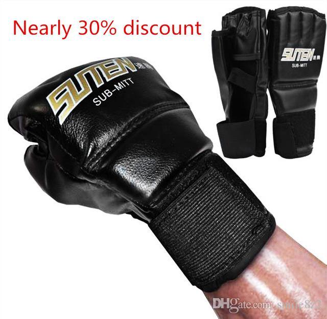 1 paia PU Leather Boxing Gloves Sport Uomini Mezza Finger Muay Thai Guanti MMA Kick Boxing Training Boxing Guanti Guanti tattici B