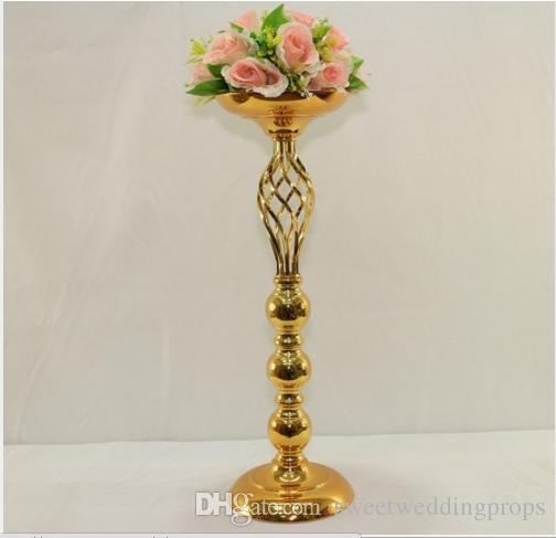 Hochzeitstafel-Mittelstück 30cm groß Goldmittelstück-Blumenvase Hochzeitsdekoration 10pcs / lot