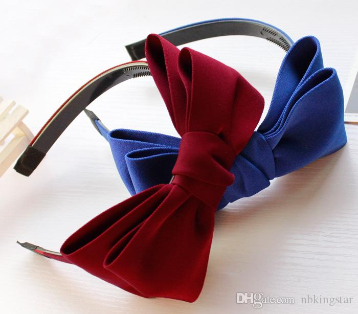 2016 New Korean Fabrics Hair Accessories Solid Women Headband With Teeth Double Wide Bow Hairband For Women 12 PCS/LOT