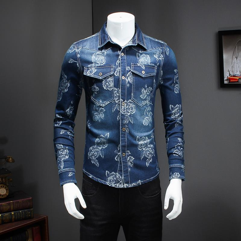 Wholesale-  New Men Shirt Fashion 2017 Slim Fit Long Sleeve Shirts Mens Turn Down Collar Double Pocket Design Jeans Shirt Men 5XL-M