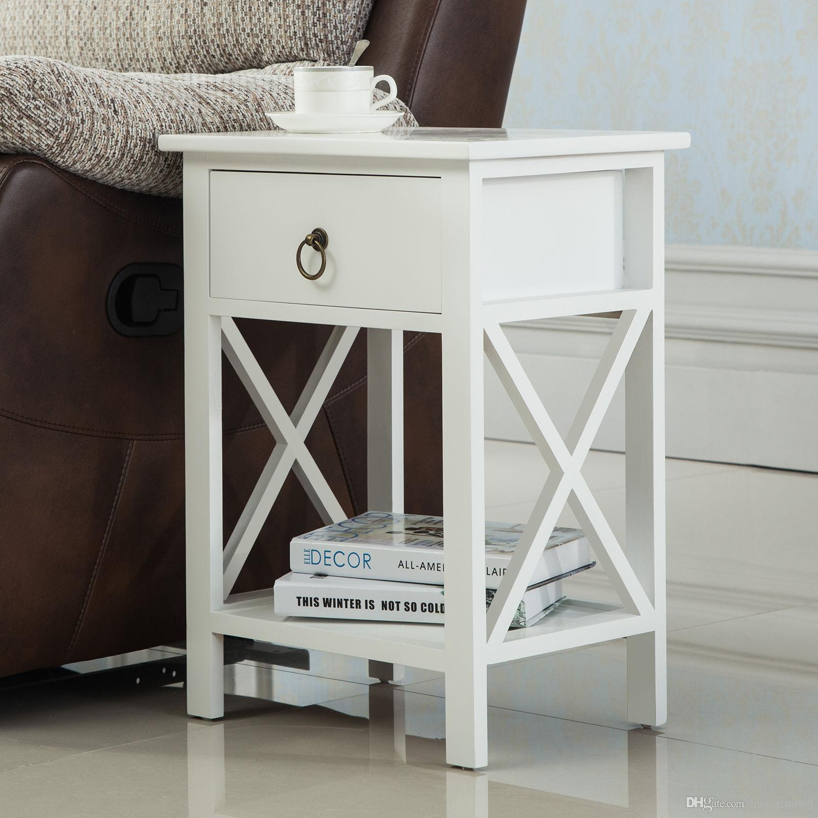 White Sofa End Side Bedside Table Nightstand Storage Wood Bedroom