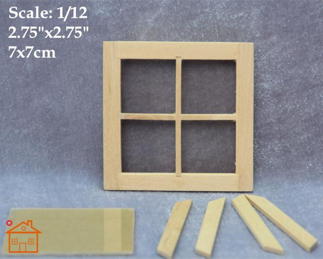 2018 1:12 Scale Diy Dollhouse Miniature Wood Windows 4 Panel Window ...