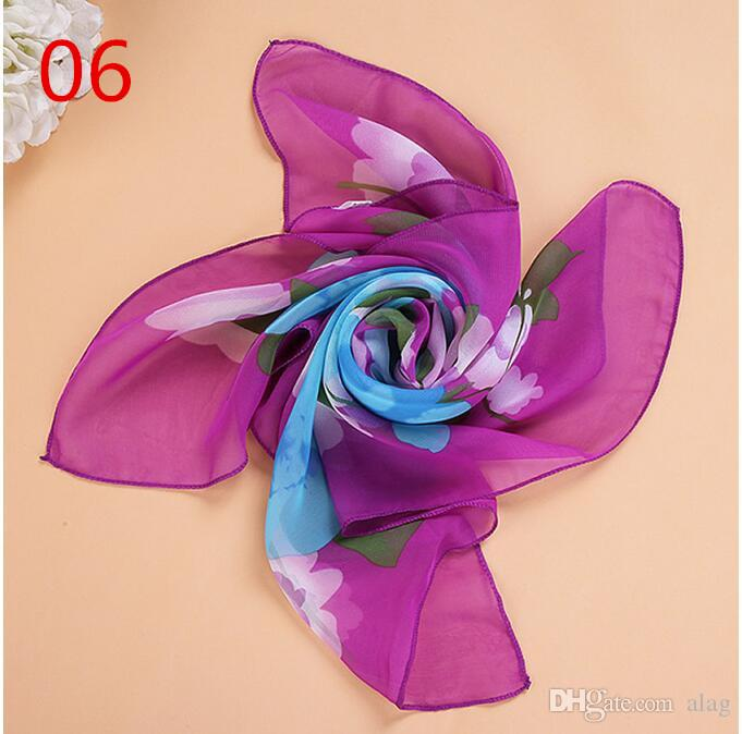 New 65*65cm Small Square Scarves Pure Silk Chiffon Solid Color Dance Show New Candy-colored Windproof Women Scarves 15 Colors NMM37
