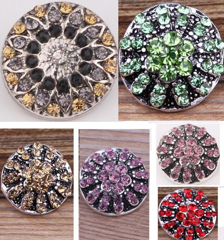 Gioielli accessori nuovo arrivo strass fiore colorato CZ pietra fascino blocchi pulsante perline, bottoni bottoni in metallo per i pezzi bracciali