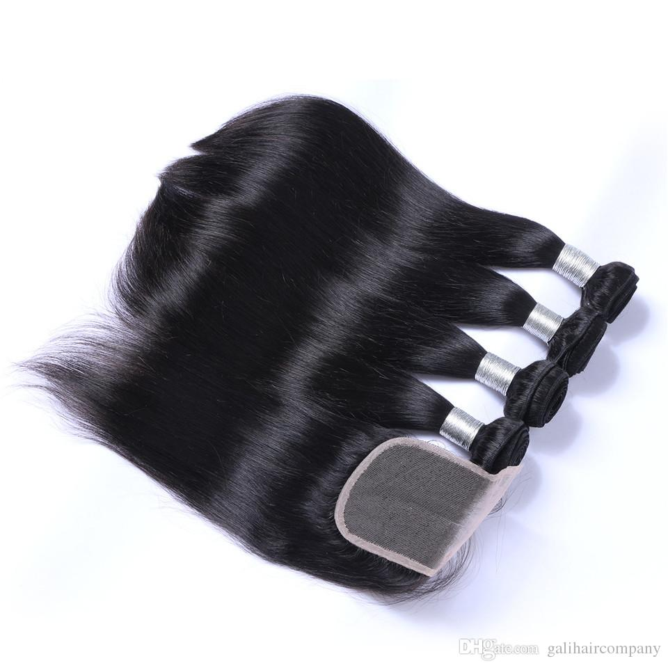 Cool 8A Qualit Peruvian Straight Hair with one 4*4 Lace closure No Shedding Free Tangle Full And Thick Free Shipping Fee DHL