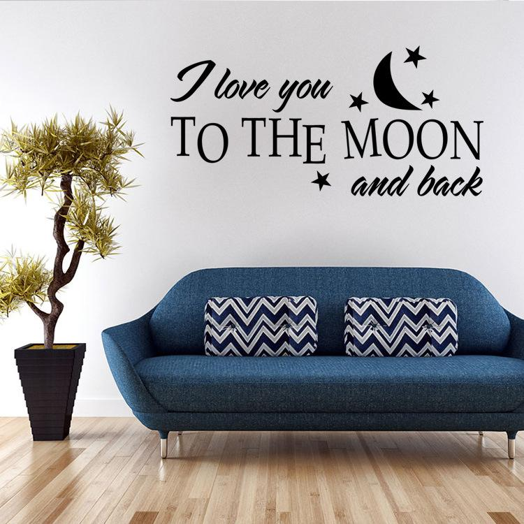 Free Shipping Customer-made Personalised I LOVE YOU to the moon and back Bedroom Wall Art Sticker, Decal, Mural for lovers' room