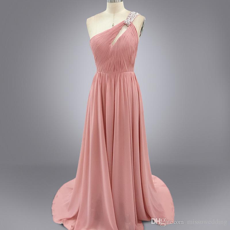 Real Image Vestidos De Festa Nude Color Prom Dresses Pleated Chiffon ...