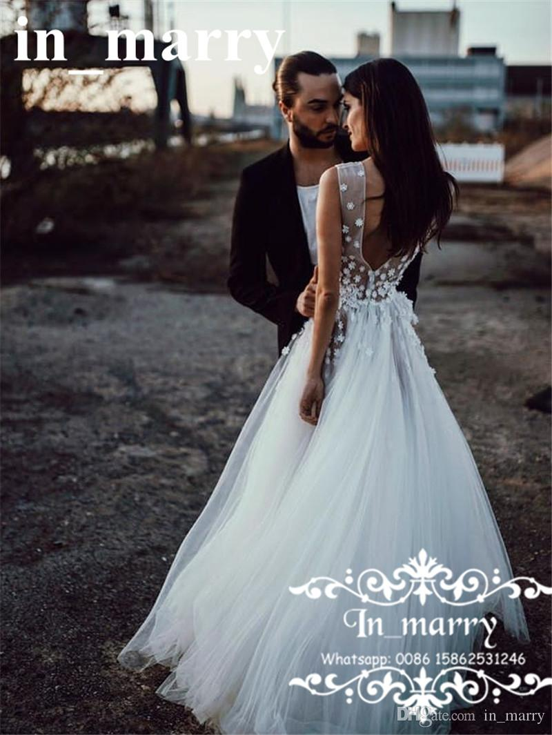 Sexy Backless 3D Foral Cheap Wedding Dresses 2018 Deep V Neck Small ...