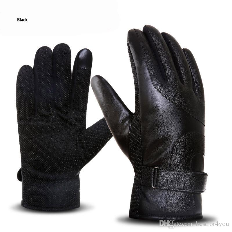 DHL free shipping long leather glove fashion outdoor anti- skid sports waterproof Windproof and warm motorcycle Finger Gloves