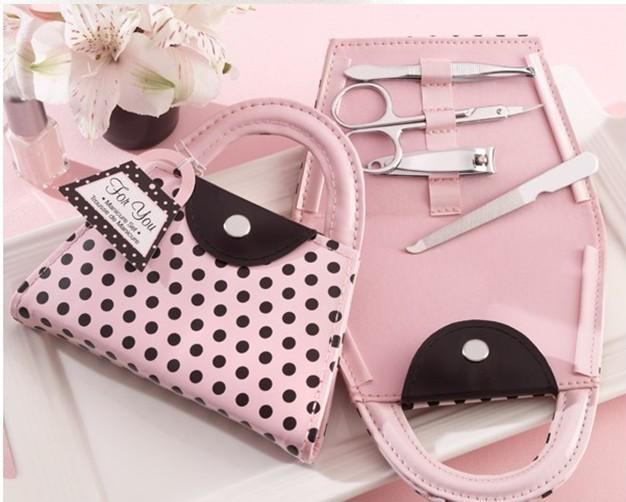 Pink Polka Dot Geldbörse Maniküre Set zugunsten Neuheit Hochzeit Brautdusche Valentinstag Geschenk Gastgeschenke vorhanden