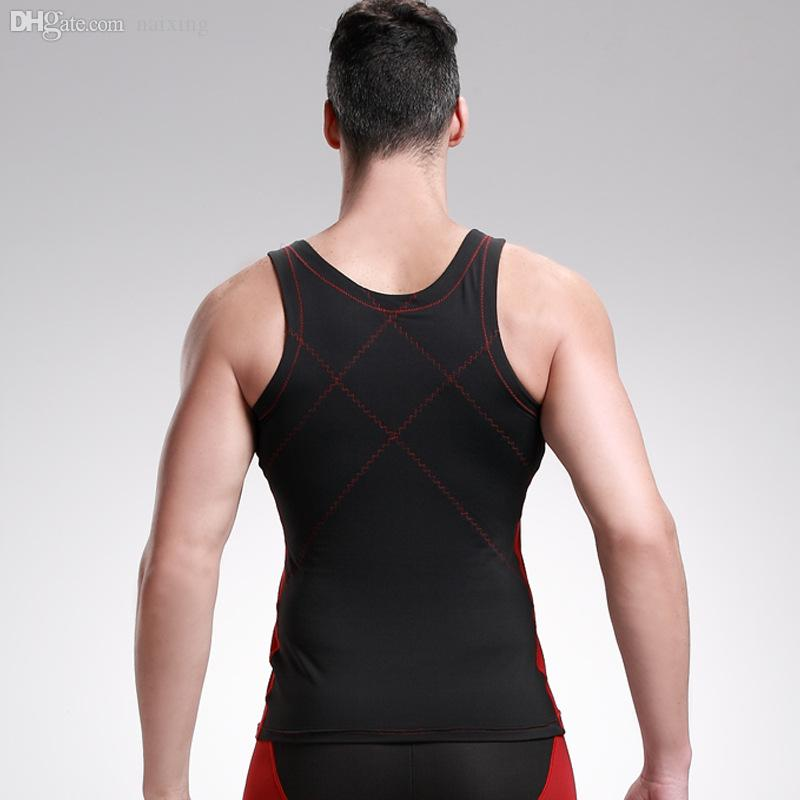 Wholesale-Men's Body Shape Chest Abdomen Thin Section Breathable Tight Vest Bamboo Charcoal Fiber Sports Body Sculpting