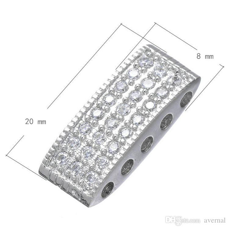 Cubic Zirconia Micro Pave Copper Connector Five-hole Calandria Platinum Plated Nickel Lead & Cadmium Free 8x20mm Hole:About 2.3mm 10 PCs/Lot