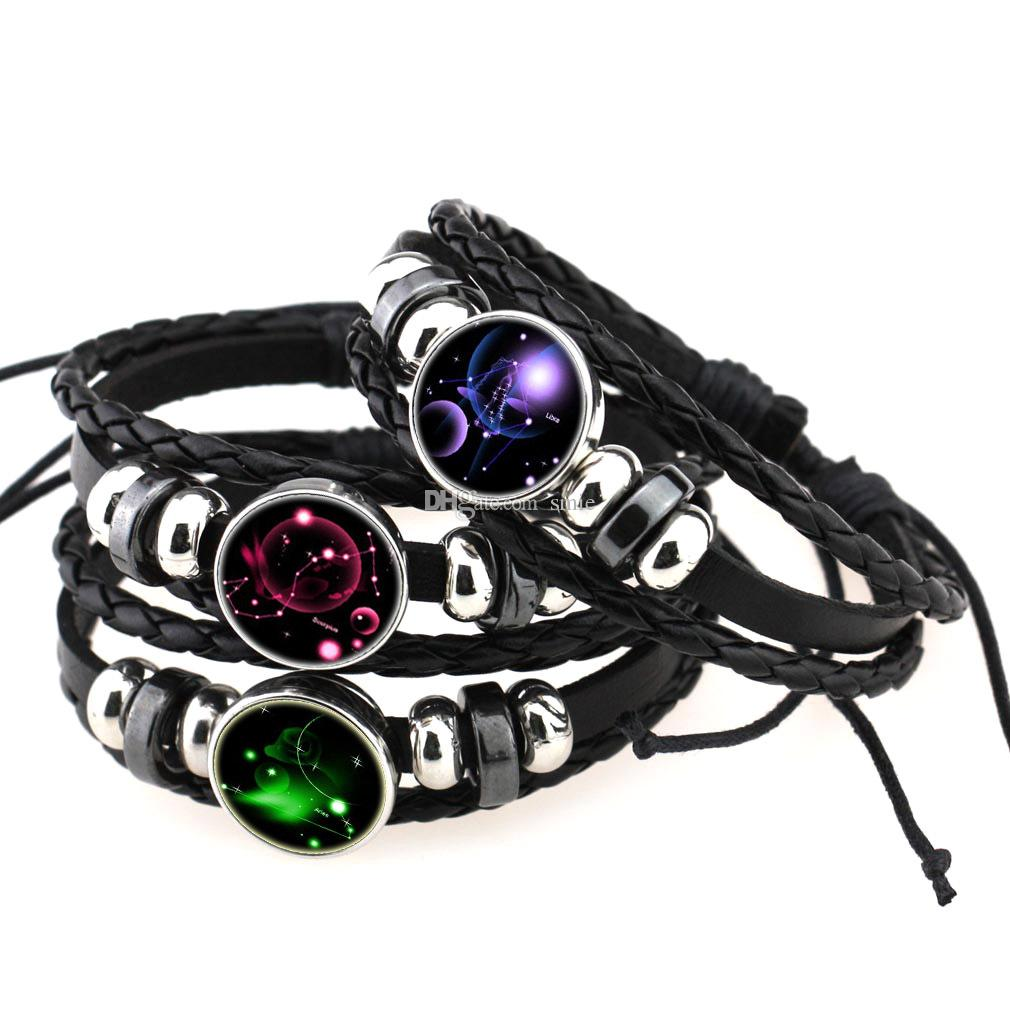 Mode 12 Constellation Multicouche Bracelet Noosa 18mm Snap Boutons Zodiac Bracelet Bracelet En Cuir Tressé pour Femmes Hommes Snaps Bijoux