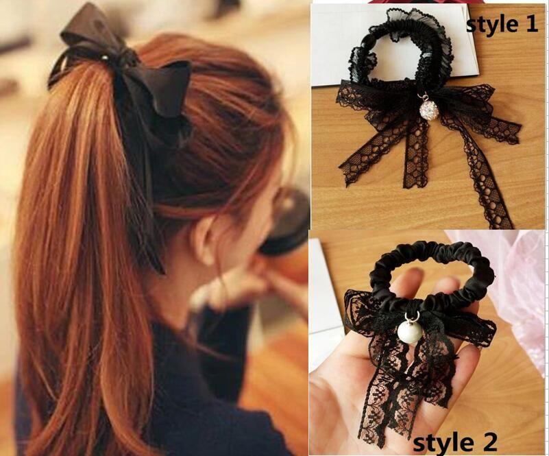 15% Rabatt! Neue Ankunft Frauen Mode Satin Band Bogen Haarband Seil Stirnband Pferdeschwanzhalter Elastisches Gummiband Mädchen Haarschmuck 30pcs /