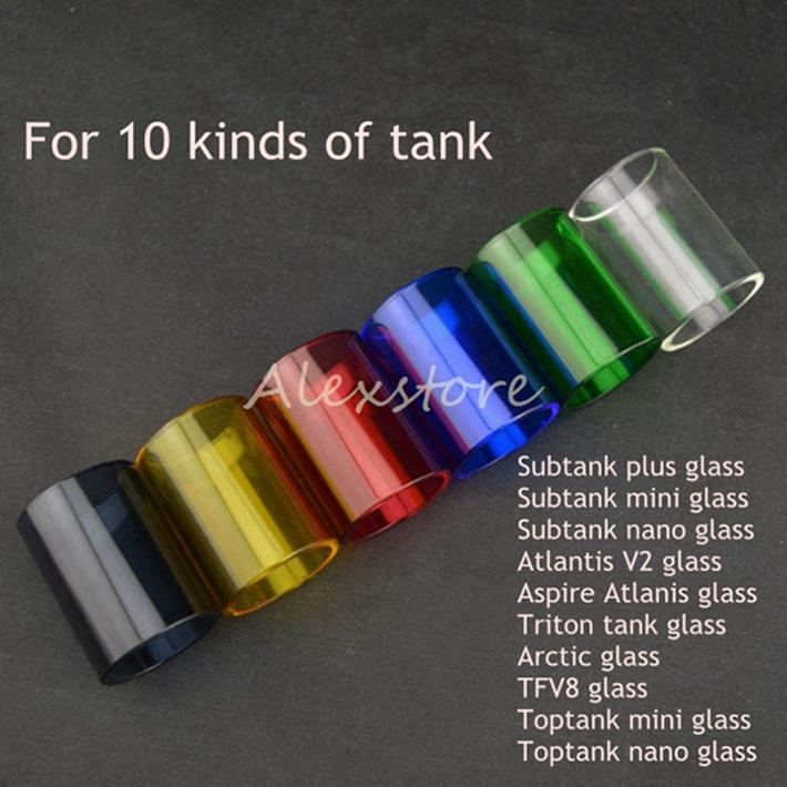 Colorful Pyrex Glass Tube Replacement Caps for Kanger Subtank Toptank Mini Nano Plus Aspire Triton Atlantis V2.0 Arctic Smok TFV8 RBA Vape