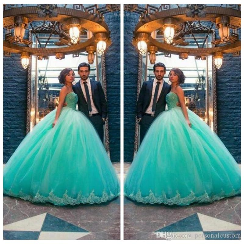 Strapless Ball Gown 16 Teenager Quinceanera Dresses Sweep Train Lace ...