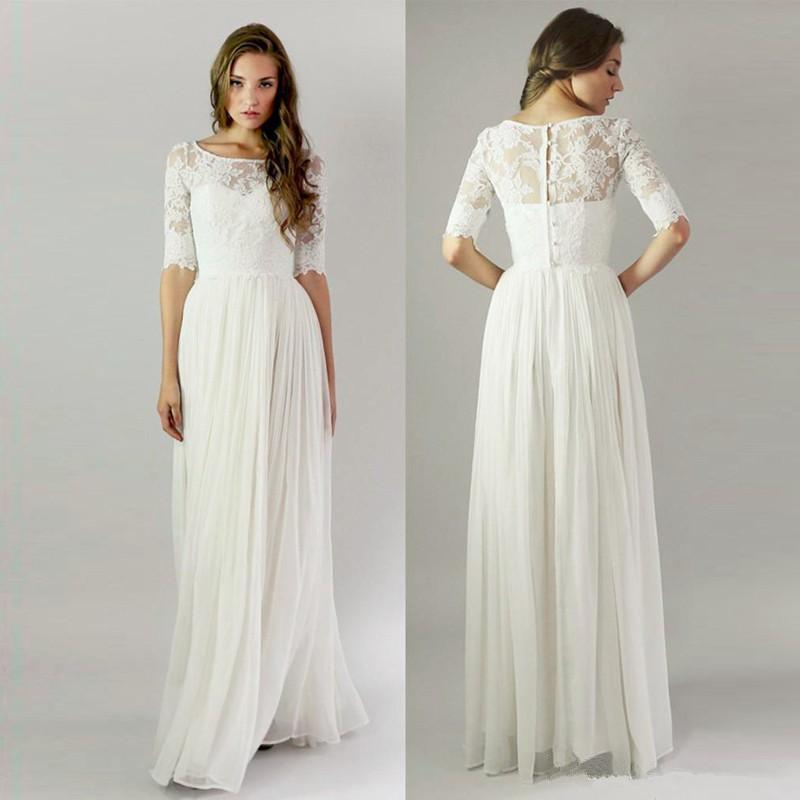 Modest 2016 Wedding Dresses Cheap Half Sleeves Lace Buttons Back Boho Beach Dress A