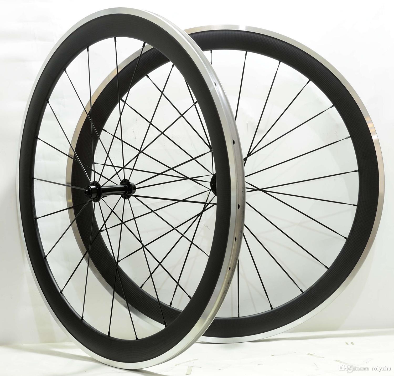 شحن مجاني 700c 50 ملليمتر عمق 25 ملليمتر العرض سبائك سطح الفرامل عجلات الكربون الفاصلة الطريق دراجة العجلات مع محور powerway r13
