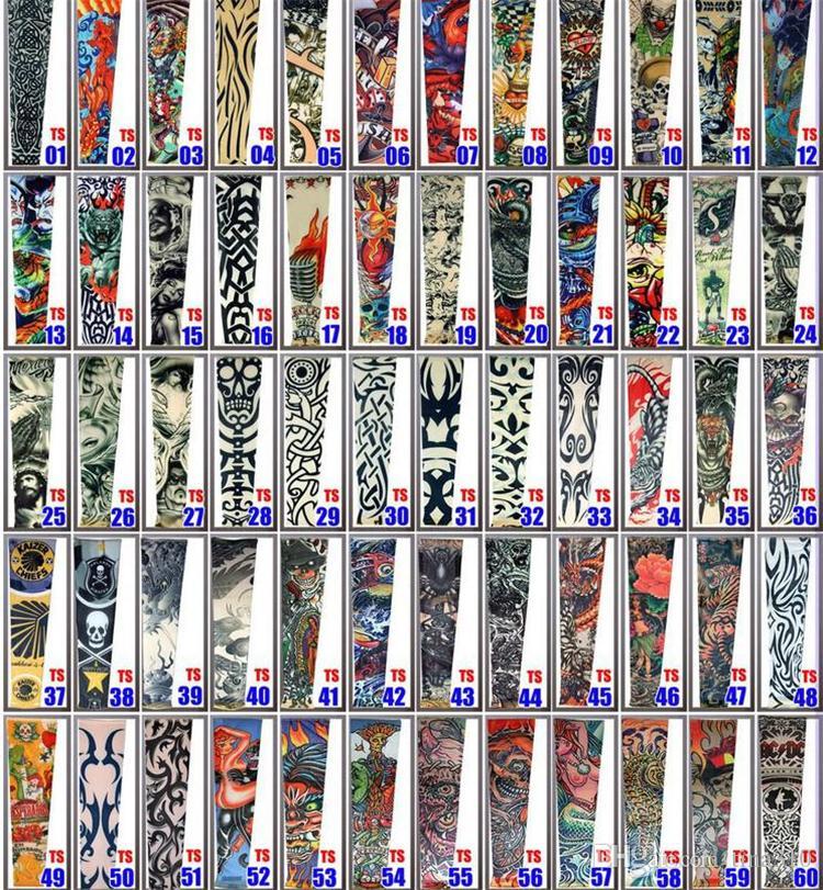 Os mais recentes formação reticular costura elástica Falso manga tatuagem temporária projeta tatoo manga braço corpo para homens frescos mulheres sleevelet 2176