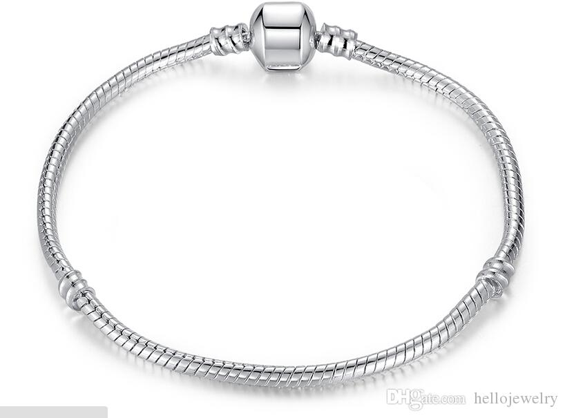 Silver Plated Bracelet fit Women For Pandora Snake chain Basic Bracelets Bangles Charm Bead DIY Jewelry With Without Logo