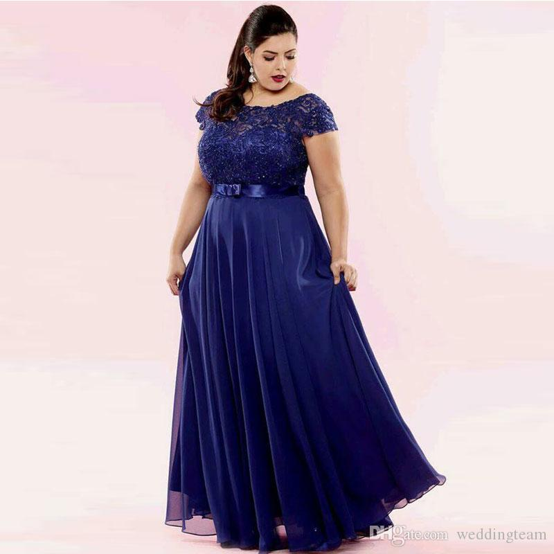 Charming Navy Lace Plus Size Prom Dresses Sheer Bateau Neck Beaded Evening  Gowns Sleeves A Line Floor Length Chiffon Formal Dress Plus Size Prom ...