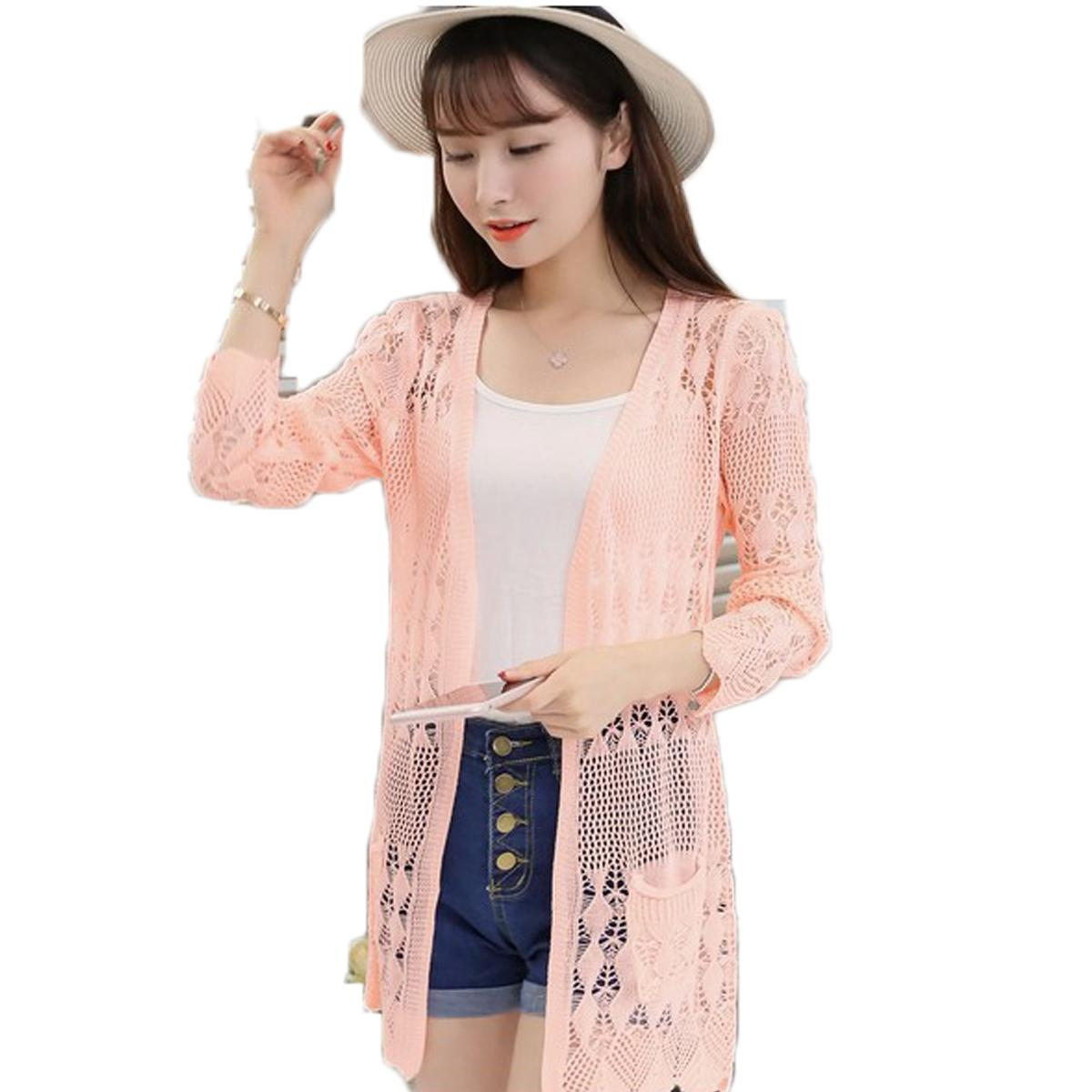 Wholesale- 2017 Ladies Crochet Tops Summer Hollow Out Knitted Sweaters Plus Size Rebecas Mujer Fashion Women Beach Cardigan Spring