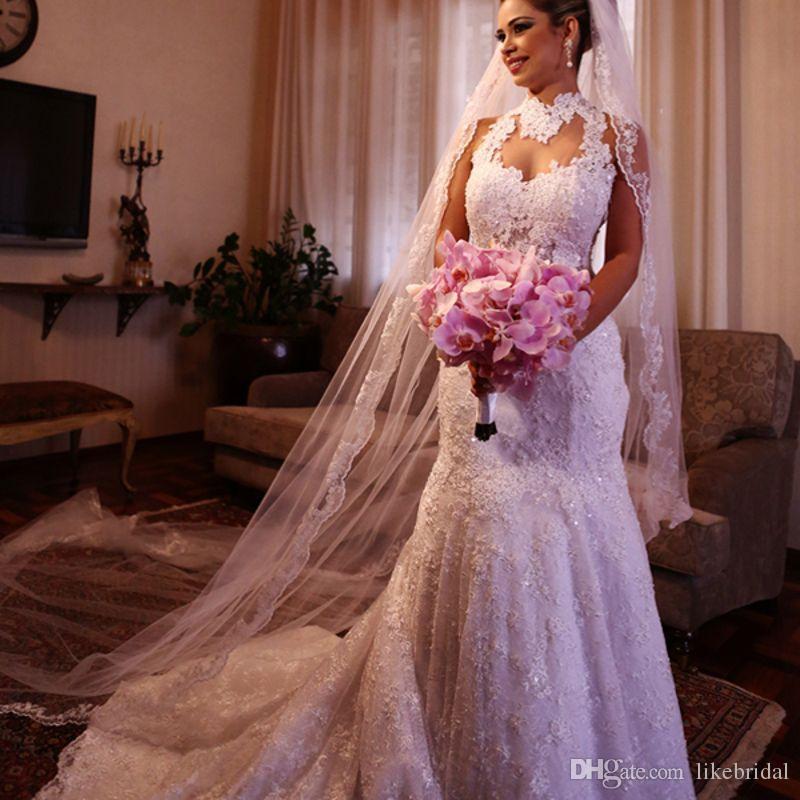 Высокое качество свадебное платье с высоким вырезом и прозрачным вырезом с кружевами Свадебные платья Русалка Sexy Backless Court Train 2019 Последние Vestidos de Noivas