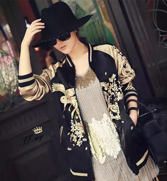 도매 - 양면 착용 여성 자수 꽃 피닉스 조류 짧은 재킷 브랜드 폭격기 자켓 코트 파일럿 outwear 탑스 스프링 자켓 여성