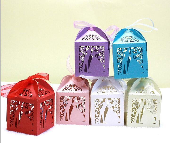 100pcs 레이저 커팅 중공업 신부의 사탕 상자 초콜렛 상자 결혼식 파티에 대 한 리본으로 아기 샤워 부탁 선물