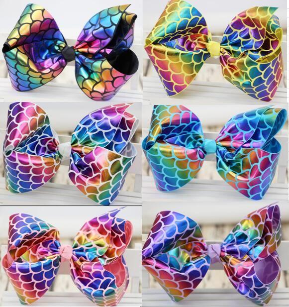 HOT SALE ! Mermaid 8inch Girls Dance Moms Hair Bow FOR GIRLS - Alligator Clip Grosgrain ribbon hair clip 15pcs/