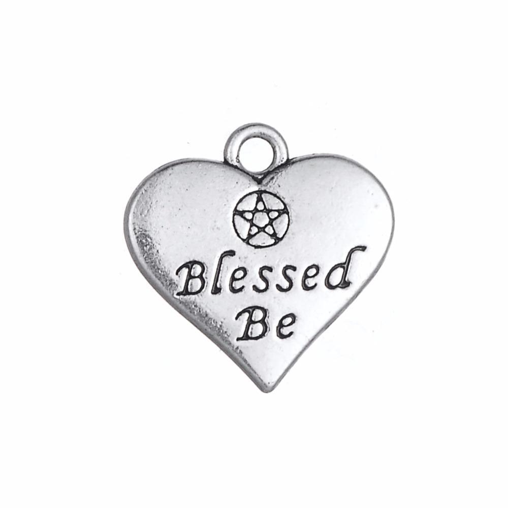 Nouveau coeur en forme de lettre gravée béni soit double côté charmes d'amour pour la fabrication de bijoux facile à diy pour vous