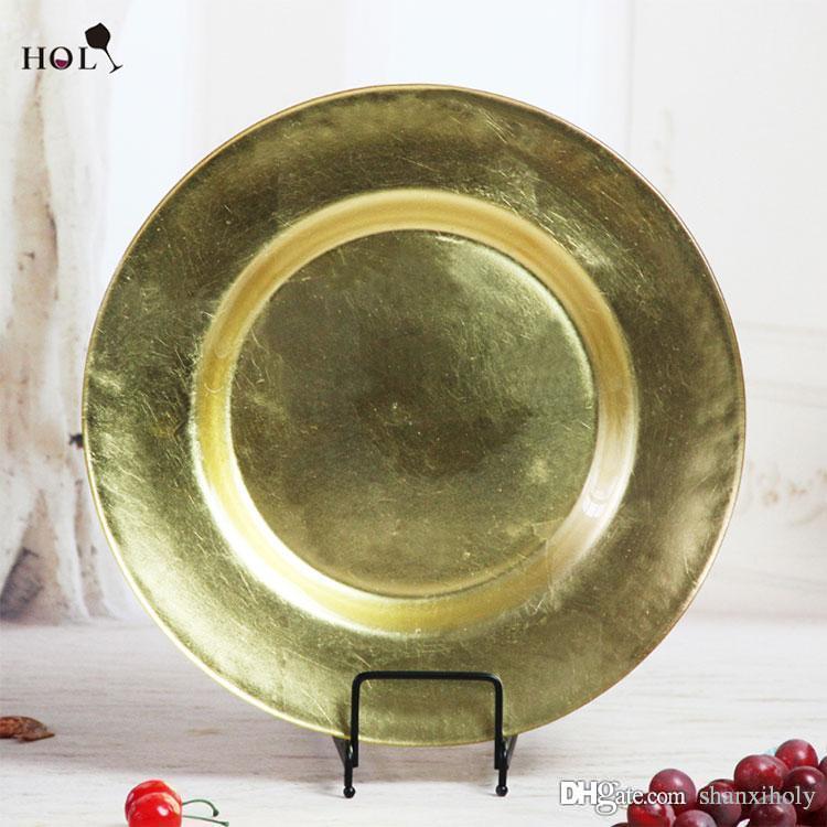 Chian machte heilige schöne Hauptdekorationshochzeits-volle Goldglas-Ladegerät-Platte des Geschirrs