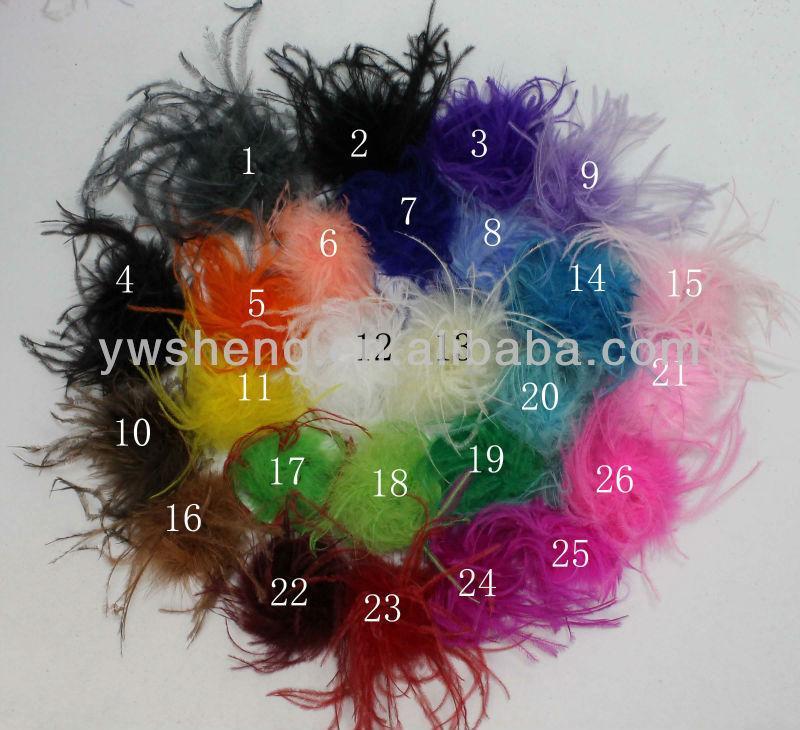 50pcs / lot Mischungsfarben Art und Weise preiswertere Gerade Straußenfeder puff für Haarclips Für Stirnband für Festival Großhandelspreis