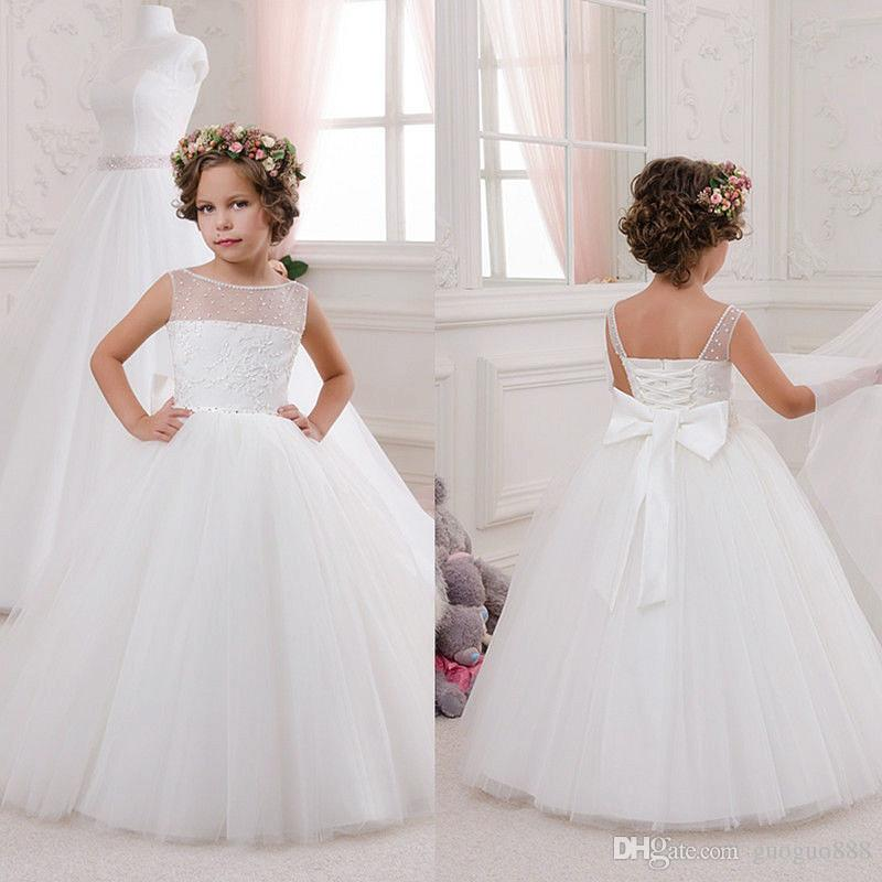 Scoop Simple Lace Beaded Sash Net Baby Girl Birthday Party Christmas  Princess Dresses Children Girl Party Dresses Flower Girl Dresses Bridal  Flower