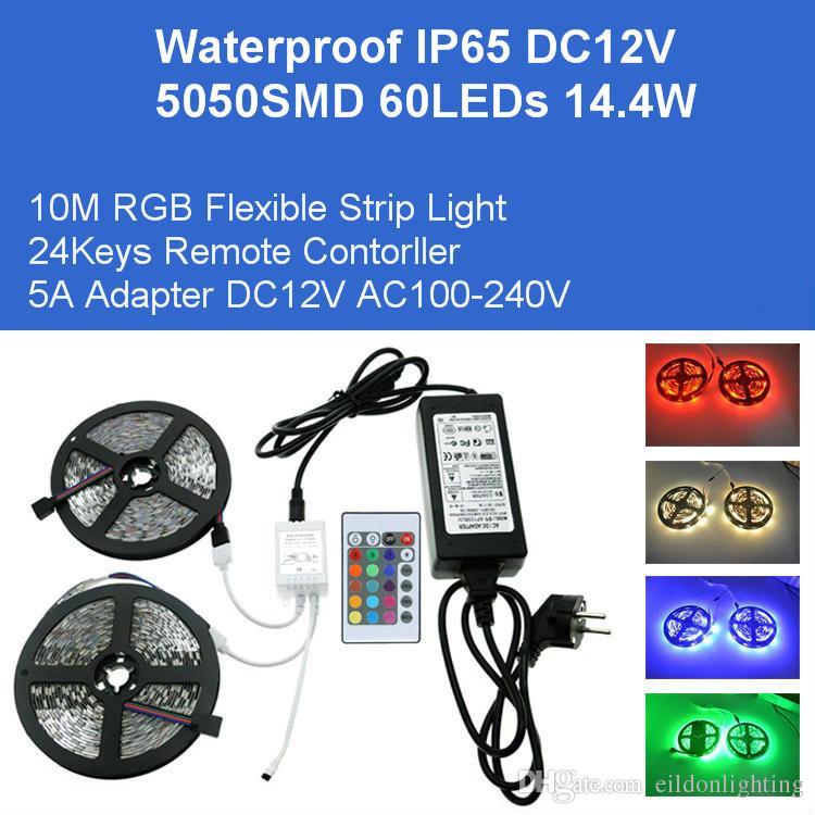 DC12V 10M RGB гибкой лента 5050SMD 600LEDs 144W Kit светодиодная 10 адаптер ИК-пульт дистанционного управления IP65 Водонепроницаемых лампы Direct Шэньчжэнь Китай