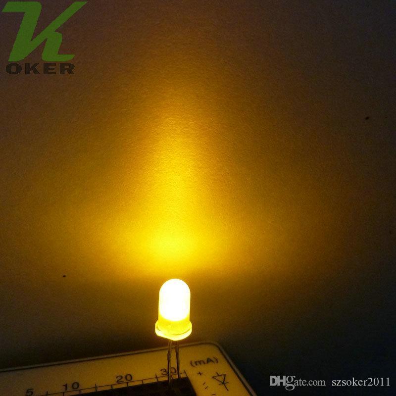 1000pcs 5mm giallo diffuso led lampada a led led diodi 5mm diffuso giallo ultra luminoso rotondo led light spedizione gratuita
