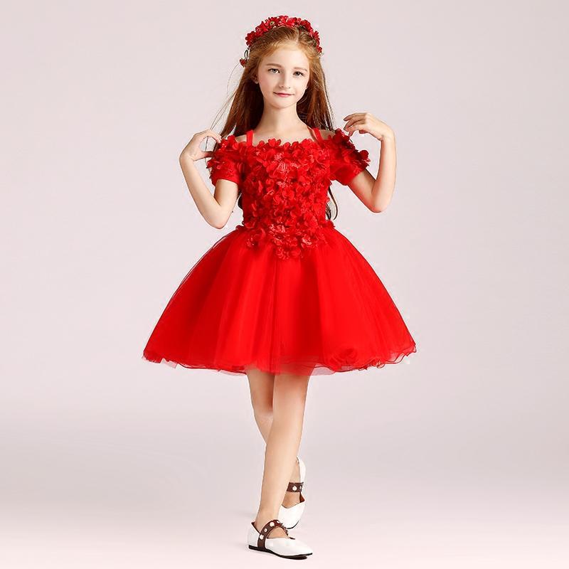 2017 Czerwony Kolano Długość Kwiat Dziewczyny Sukienki Ball Suknia Organza z aplikacją Ręcznie wykonane kwiaty Tanie dziewczyny Korowód Sukienka Tanie Czerwony, Biały, Czarny