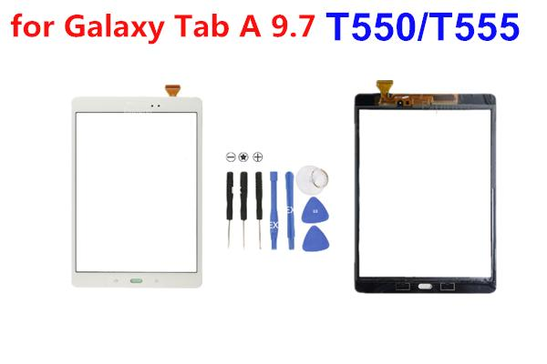 Touch Screen digitalizador lente de vidro com fita para Samsung Galaxy Tab 9,7 T550 T551 T555 E 9.6inch T560 DHL