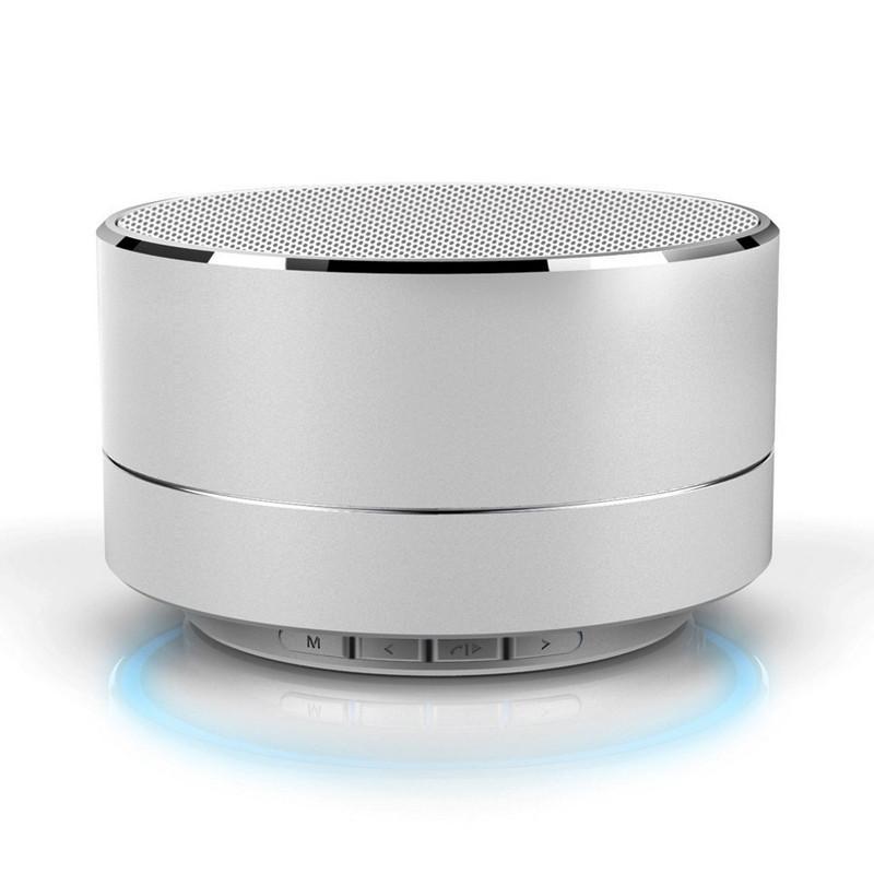 Moda Moderna Liga de Alumínio Cilindro Sem Fio Bluetooth Speaker Chamadas Handsfree TF Cartão de Música Subwoofer Bass Speaker Estéreo