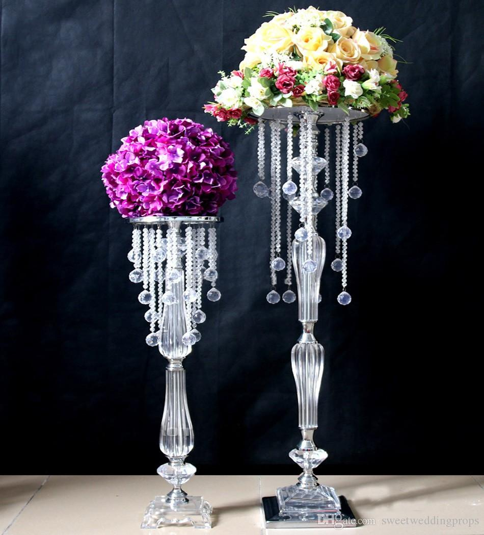 74 cm Height new arrival wedding table decoration/ party tablea crylic crystal aisle stand for wedding stage decoration
