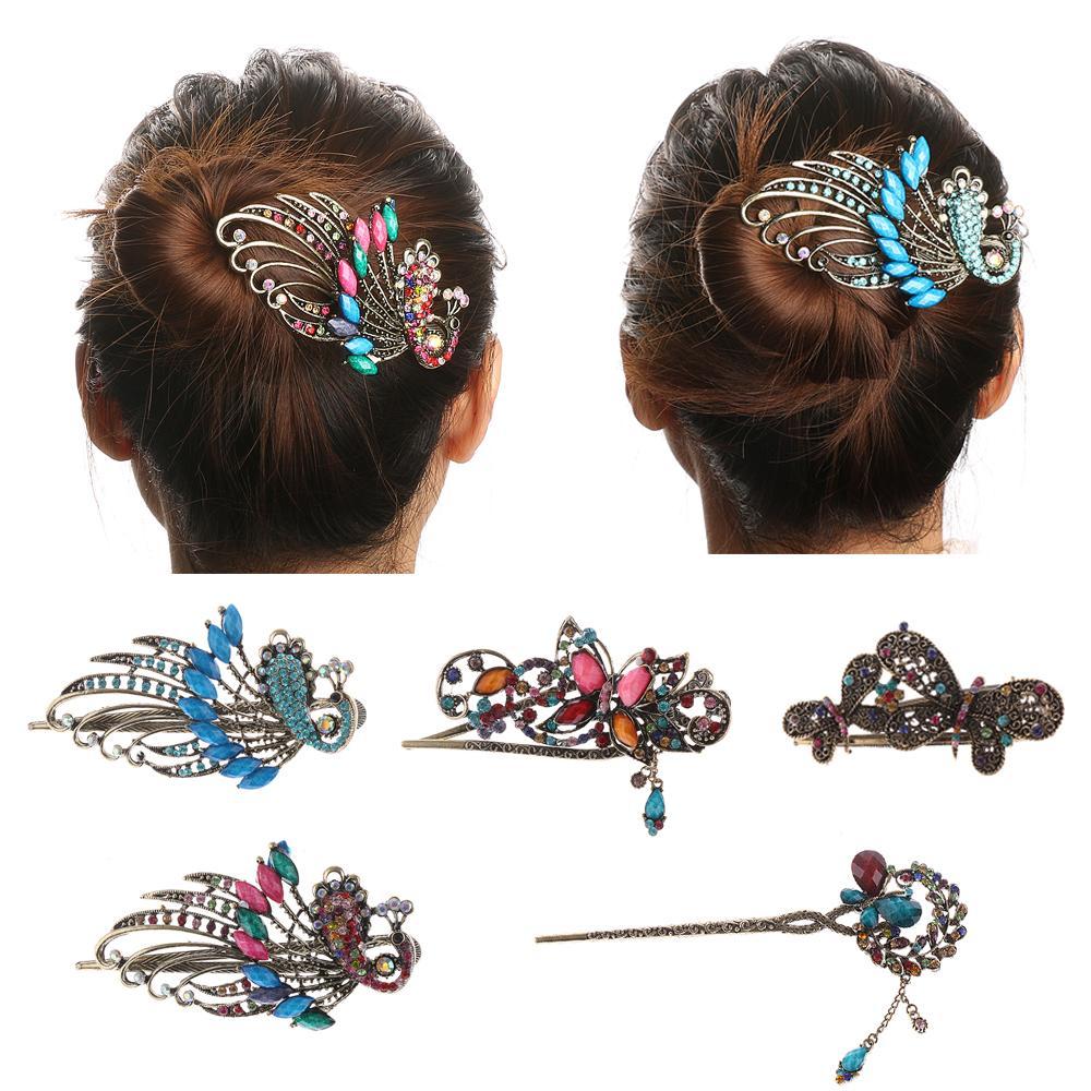 4 stili caldi retro delle donne delle signore delle ragazze d'epoca di cristallo del fiore di farfalla delle forcelle dei capelli del bastone dei capelli degli accessori della clip di capelli